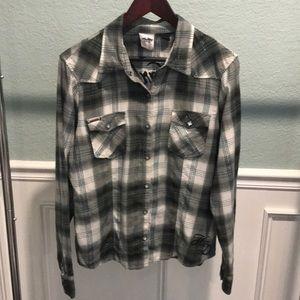 HARLEY DAVIDSON | green plaid embroidered shirt